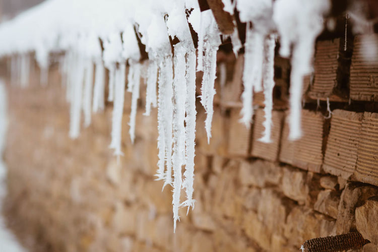 Frozen Ice Cold Temperature Icicle Winter No People Wood - Material Close-up Crystal Selective Focus Snow Nature Day Environment White Color Hanging Outdoors Large Group Of Objects Pattern Melting