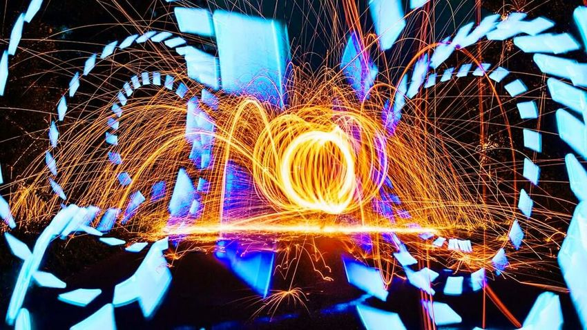 Reflection Glowing Illuminated Blue Outdoors Multi Colored Light Painting Creativity Vibrant Color Sparks Majestic Bright Color Art Lightpaintingart Steelwool Steelwool_photography Flashlight Art Strobo Shoot Enjoylightpainting