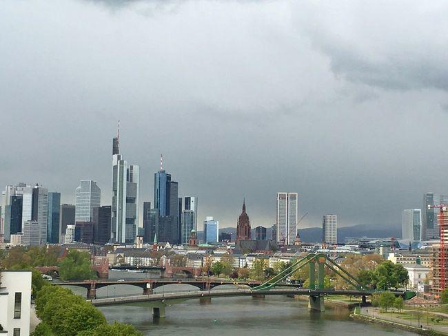 Frankfurt Am Main Skyline Rain Clouds Mainhattan Skyscraper