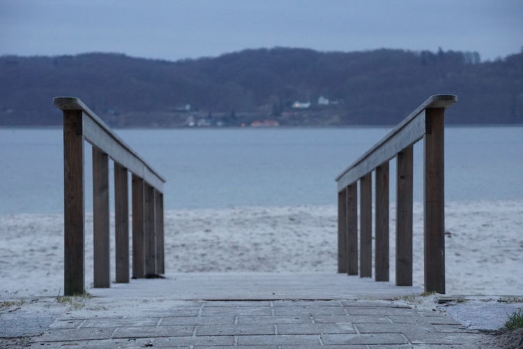 Albuen Beach in Vejle Beach Built Structure Day Land Outdoors Sea Vejle Water Wood - Material