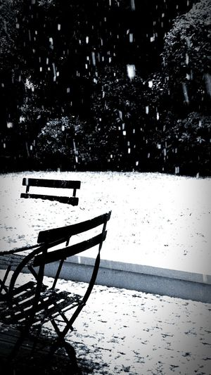 Take a seat and watch the snow going on Black Snow Paris White Garden Enjoy The Silence Silence Blackandwhite