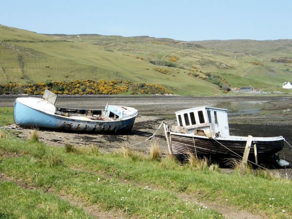 Beauty In Nature Day Grass Isle Of Skye Landscape Mode Of Transport Motor Home Nature Nautical Vessel No People Old Boats Old Boats Ruins Old Fishing Boat Outdoors Scenics Scotland Sky Tranquil Scene Tranquility Transportation Water