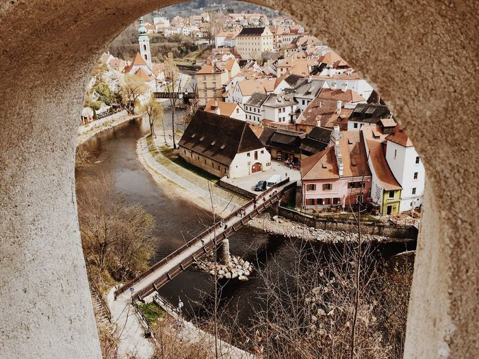 High Angle View Architecture Travel Destinations Český Krumlov Cityscape Top View Bridge Canel View From Above