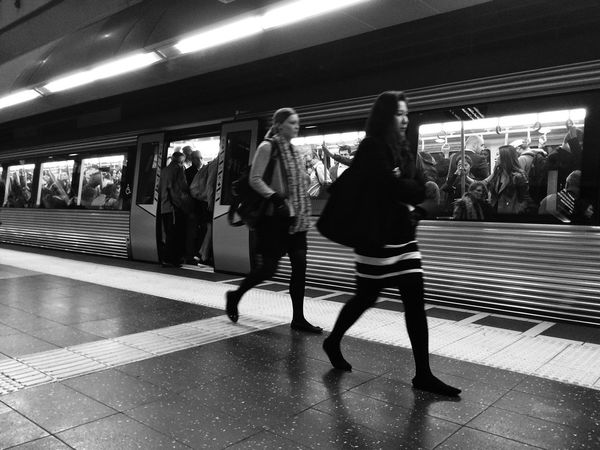 Commuters going home... Public Transportation Commuting Blackandwhite Traveling