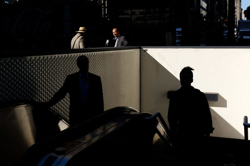 untitled Streetphotography Street Photography The Street Photographer - 2018 EyeEm Awards San Francisco Subway Men Shadow Silhouette Steps And Staircases Escalator Railing Stairway
