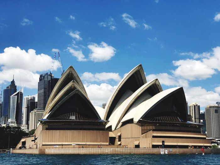 Opera house Architecture Sky Water Built Structure Building Exterior City Cloud - Sky Nature Travel Destinations Transportation No People Waterfront River Travel Modern Office Building Exterior Day Building Tourism Outdoors