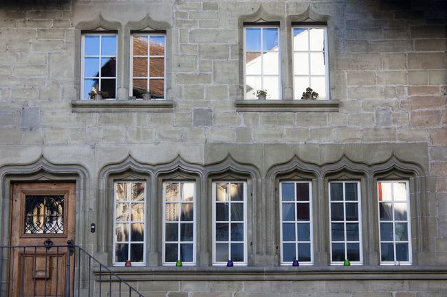 Architecture Building Exterior Glass House Murten Refelctions Switzerland Village Windows