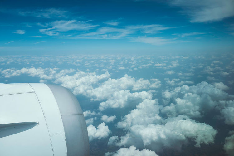 Blue sky, white clouds, airplane, travel Landscape Outdoors Day Nature Airplane Transportation Flying Mode Of Transportation No People Travel Cloud - Sky Sky Beauty In Nature Motion Engine Scenics - Nature Jet Engine Blue Cloudscape on the move