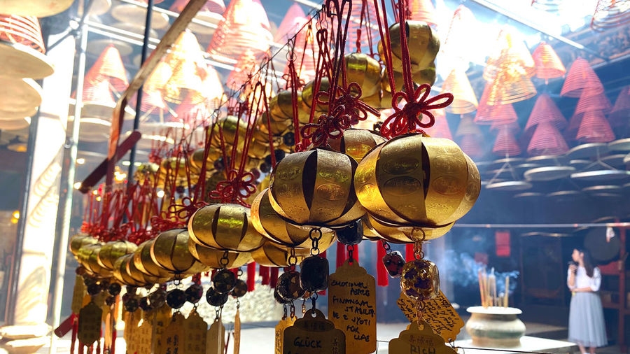 Low angle view of lanterns hanging for sale at market stall