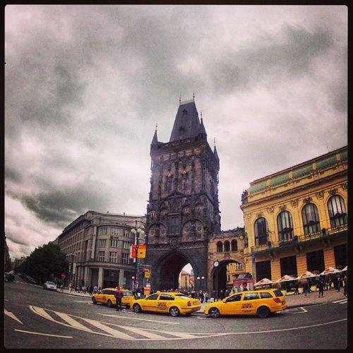 Powder Tower, Praha. From our May 2013 bike tour album :) Jzomerfeld 3dot14new Powder Tower praga Praha may afterMaturaExam tour travel happiness city taxi yellowTaxi sky beautifulSky :)