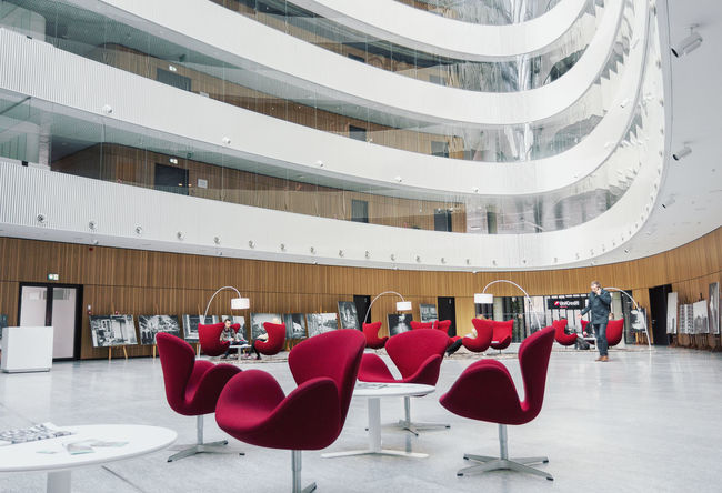 Furniture Seats Architecture Red Table Armchairs Interior Waiting Hall Lobby Office Building Business Centre Indoors  Buildings Modern Architecture Design Corporate