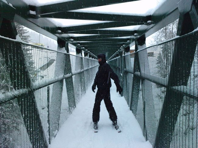 Architecture Bridge Built Structure Cold Temperature Corridor Les Gets Metal Narrow Outdoors Ski Skiing Snow Winter