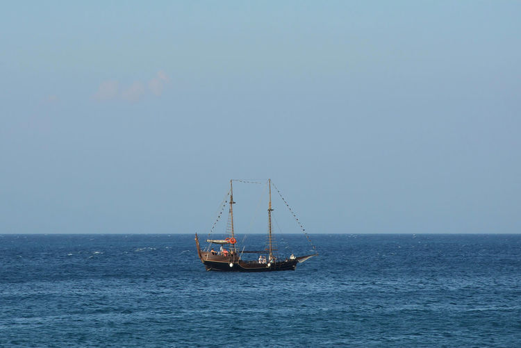 Beauty In Nature Clear Sky Day Horizon Horizon Over Water Mode Of Transportation Nature Nautical Vessel Outdoors Sailboat Scenics - Nature Sea Sky Transportation Water Waterfront
