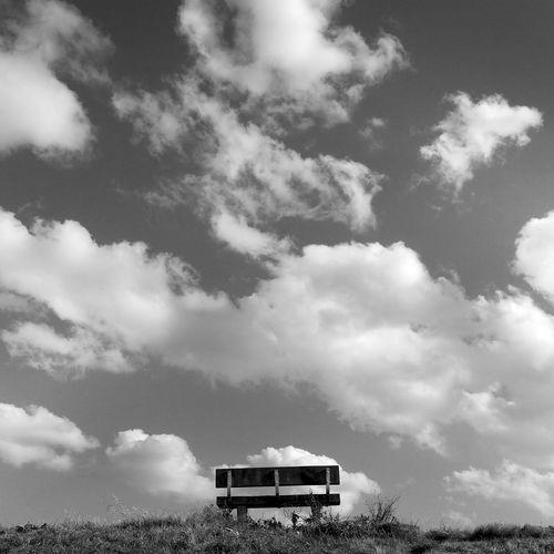 Bench Minimalism Minimalist Sky Cloud - Sky Landscape Farmland Park Bench Overcast Weather Sky Only