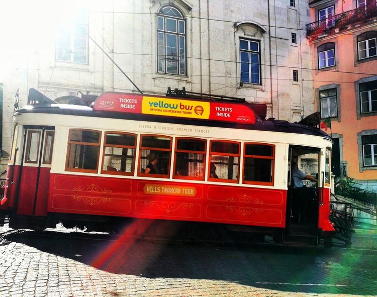Transportation Red Train - Vehicle Outdoors Sky City Life Outdoorphotography Lisboa Portugal Lisbon Portugal Lisbon - Portugal Lisbon Tram Tram Lines People