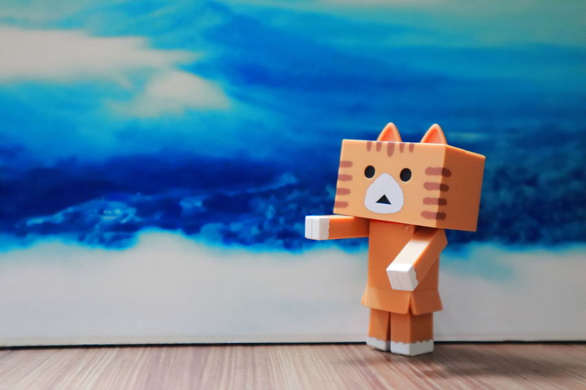 Nyanbo Nyabo Danbo Danboard Meawstery Blue Cat Close-up Creativity Figurine  Indoors  No People Small Toy Toy Block EyeEmNewHere Creativity Sky Representation Cloud - Sky Indoors