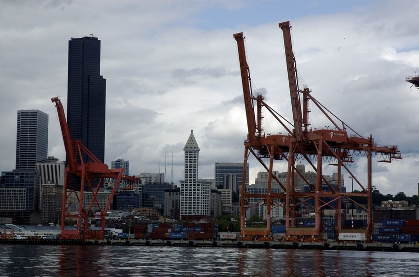 Cityscape Container Crane Downtown Seattle, Washington ( USA ) Port Of Seattle Seattle Shipping  Skyline Smith Tower Waterfront First Eyeem Photo
