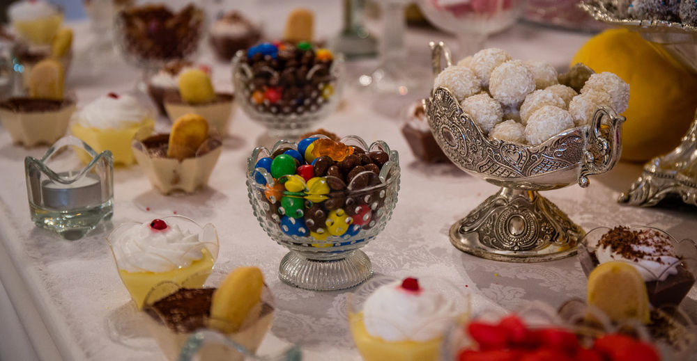 High angle view of cupcakes on table at store