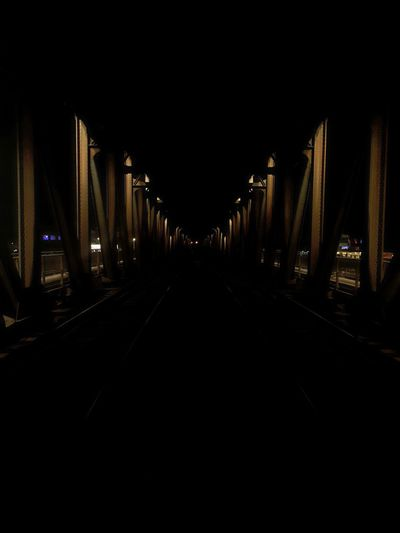 Night The Way Forward No People Bridge - Man Made Structure Symmetry Outdoors City Architecture Train Train Tracks Train Lights