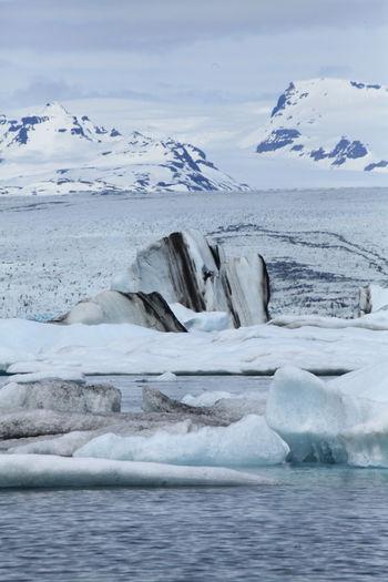 Idyllic View Of Glacier On Lake