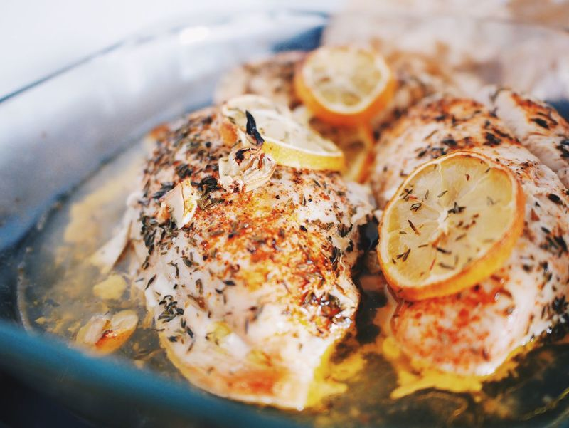 Food And Drink Food Indoors  No People Serving Size Close-up Freshness Healthy Eating SLICE Ready-to-eat Day Ingredient Recipe Chickenfillet Lemon Spices Thyme Paprika Garlic Clove Garlic OvenBaked Ovencooking Cooking Cooking At Home Dinner