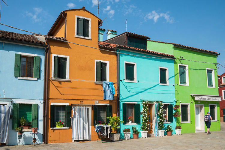Building Exterior Outdoors Architecture Sky Travel Destinations Cute Built Structure Vacations Multi Colored Blue Day Orange Houses Old Architecture Travel Town Burano Italy 🇮🇹