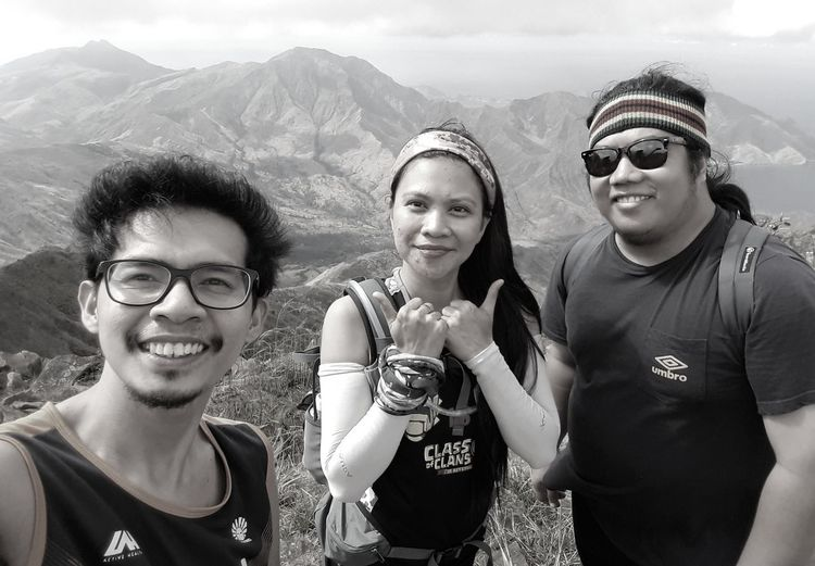 Hiking buddies Friendship Looking At Camera Togetherness Smiling Mountain Adventure Outdoors Mountaineering Hiking Connected By Travel