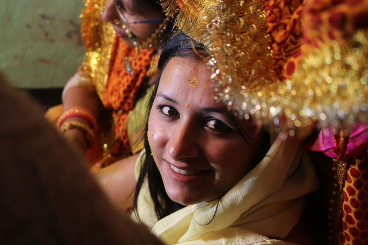 High angle view of bride during wedding ceremony