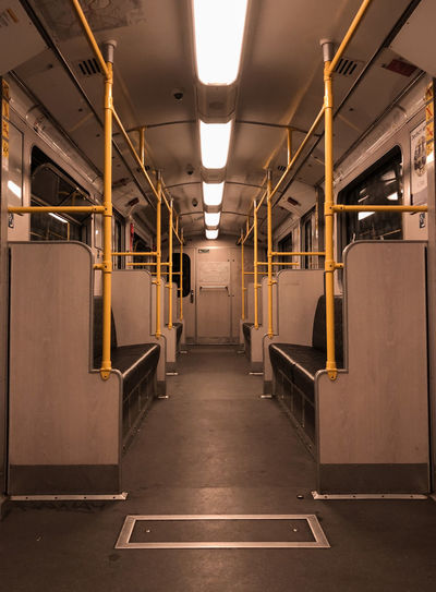 Interior of empty train