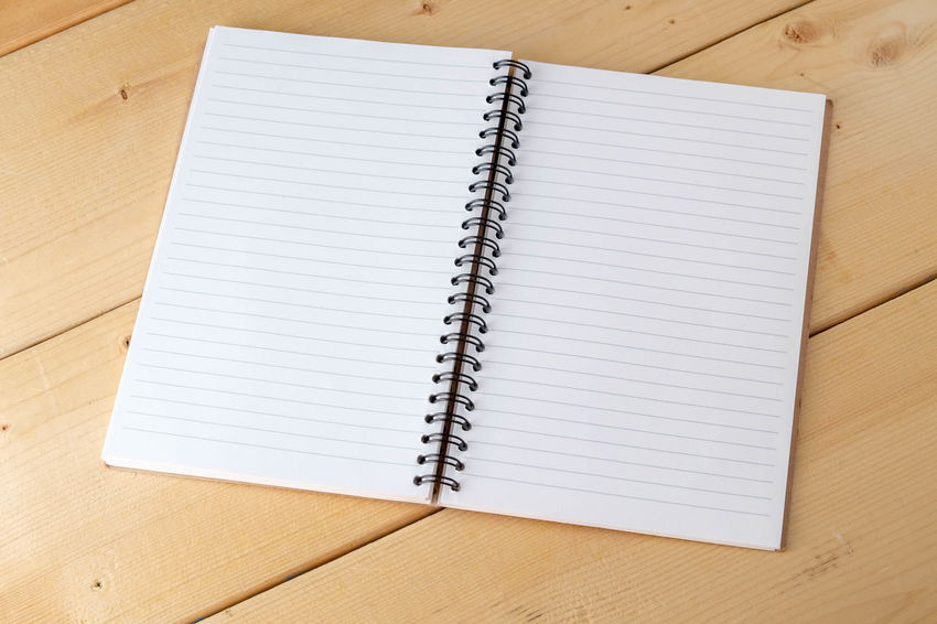 Blank Close-up Day Diary Directly Above High Angle View Indoors  Lined Paper No People Note Pad Office Supply Open Page Paper Reminder Ring Binder Spiral Notebook Table White Color Wood - Material Writing