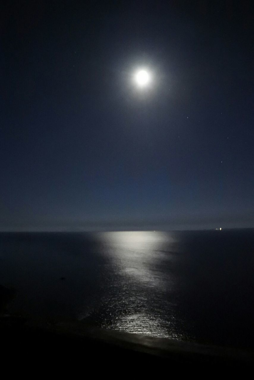 moon, sea, horizon over water, scenics, full moon, beauty in nature, moonlight, tranquil scene, nature, night, water, tranquility, idyllic, sky, clear sky, no people, outdoors, astronomy, illuminated, star - space