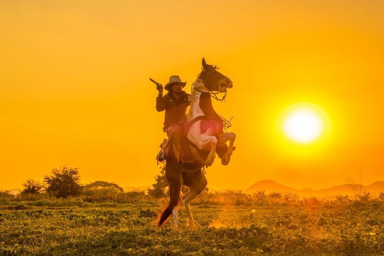 Full length of cow boy riding horse at meadow during sunset