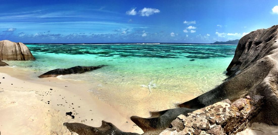 Sea Sky Water Nature Beauty In Nature Scenics Horizon Over Water Cloud - Sky Rock - Object Tranquility Tranquil Scene Day No People Outdoors Beach Blue Best Beach In The World Beachphotography La Digue Seychelles Anse Source D'argent Panoramic Amazing Place Shotoniphone7