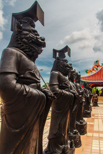 Beautiful Chinese's style sculptures at Anek Kusala Sala (Viharn Sien), Thai-Chinese temple in Pattaya, Thailand. It was built in 1987 and is one of popular tourist attractions Anek Kusala Chinese Doll Sculpture Park Viharnra Sien Building Exterior Chinese Culture Chinese Temple Day Immortal No People Outdoors Sculpture Sculpture Garden Sky Statue