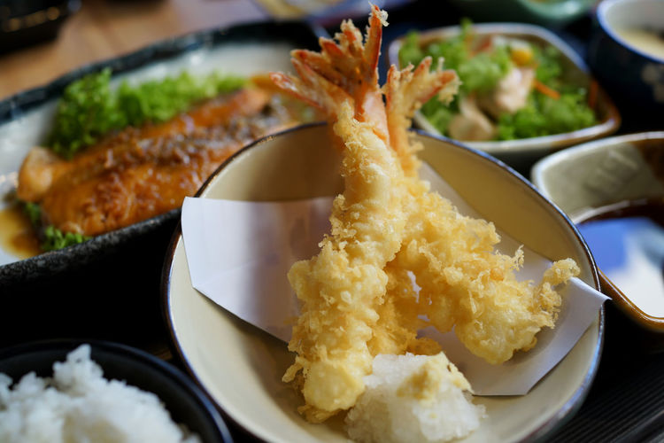 Japanese set meal with tempura shrimp Food Ready-to-eat Freshness Plate Indoors  Close-up Healthy Eating Serving Size Still Life Table Bowl Kitchen Utensil High Angle View Appetizer Seafood Selective Focus Meal Japanese Food Snack Tempura Shrimps Set Meal Seafood