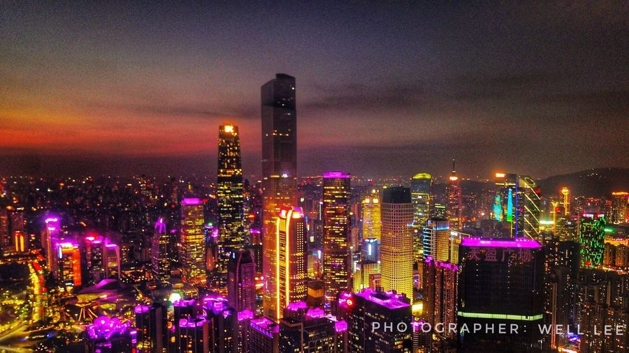 Canton nightview Illuminated Architecture Skyscraper Cityscape Building Exterior City Sky Modern Built Structure Night No People Outdoors Urban Skyline Travel Destinations EyeEmNewHere