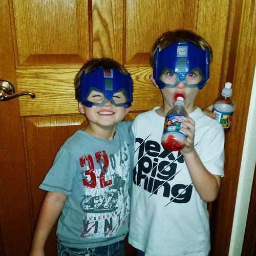 Family 🙏🙌 👫 Grandkids 💙💛💜 Preschooler Fun💕 Playing Standing Missouri Ozarks, USA 💥💖 Child Childhood Disguise Boys Portrait Eye Mask Superhero Heroes Dressing Up