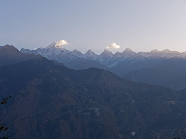 The mountains of Himalayas in Uttarakhand India at dawn Blue Hour Hiking Himalayan Range Himalayas India Wanderlust Clear Sky Dawn Dusk Environment Hikingadventures Idyllic Landscape Majestic Mountain Mountain Peak Mountain Range Munsyari Scenics - Nature Sky Snowcapped Mountain Tranquil Scene Tranquility Uttarakhand