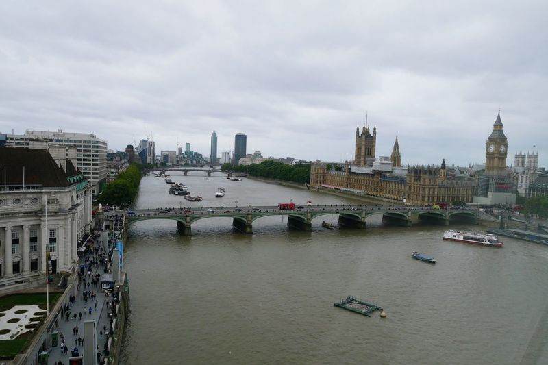 Panoramic view of city buildings by river against sky