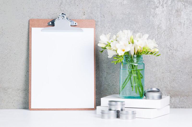 Business Desk Desktop Blank Clip Board Flowers Hand Lettering Mockup Mock Up Mockup Paper Still Life