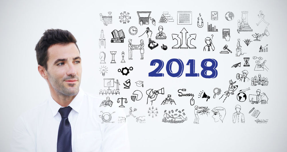 Confident entrepreneur have thinking about business plan for year 2018, isolated on white background. Stock image Bright Business Doodle Entrepreneur Look At Me Pensive Plant Project 365 Sketch Thinking Black And White Business Finance And Industry Businessman Confident  Enjoying Life Future Future Vision Knowledge Manager Office Building Owner person Profession Strategy Success