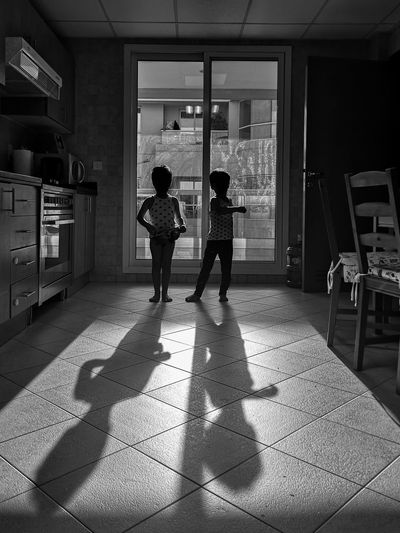 Twins Twin Brothers Kids Shadows Full Length Standing Domestic Life Home Interior Shadow Domestic Room Friend Single Parent Sibling Brother