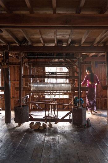 Man working in barn