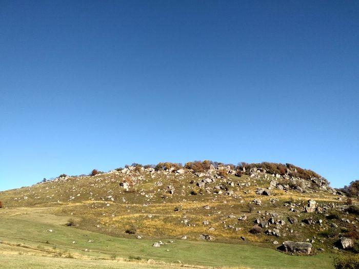 Stone Hills Boulders Blue Mountain Sky Landscape Rock Formation