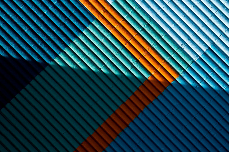 Backgrounds Pattern Full Frame Multi Colored No People Textured  Close-up Striped Design Abstract Day Blue Repetition Architecture Wall - Building Feature Shadow Creativity Built Structure Textile Outdoors Textured Effect 17.62° My Best Photo