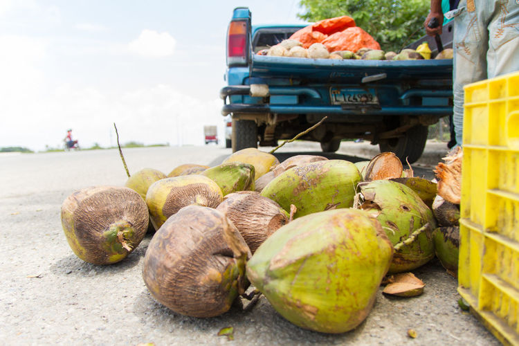 Coconuts On Street Market For Sale