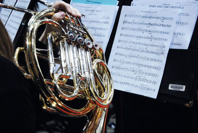 Music Playing Music French Horn Band Graduation Ceremony