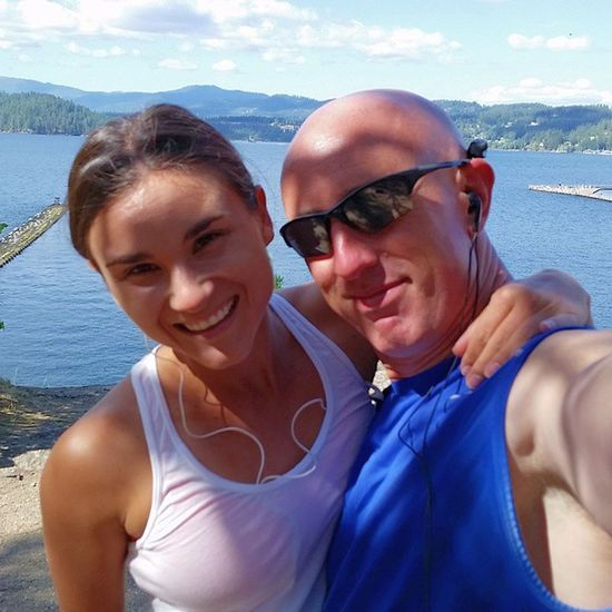 Quick Pose w my business partner while on a Run along the Lake in the Sun Northwest Running Trailrunning Enjoythelittlethings