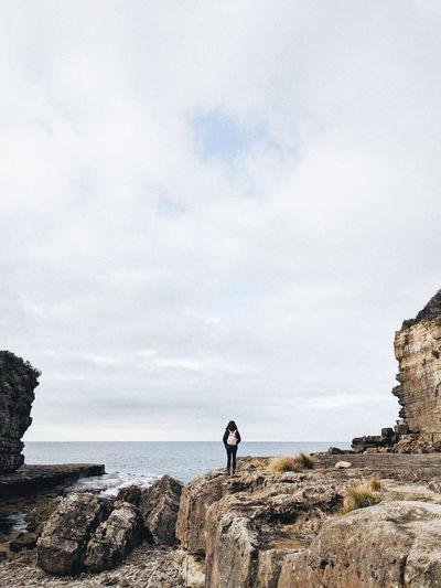 Valley Rocks Rocks And Water Isolation Tasmania Water Sea Beach Full Length Standing Sky Horizon Over Water Cloud - Sky