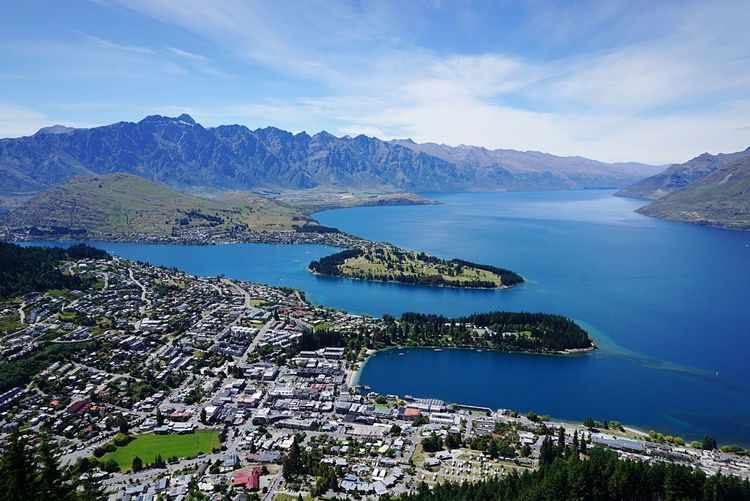 Lake Wakatipu Lake Tourism Travel Destinations Travel Observation Point TOWNSCAPE High Angle View Scenics - Nature Beauty In Nature Mountain Sky Nature Tranquility Tranquil Scene Day No People Land Blue Idyllic Outdoors Bay